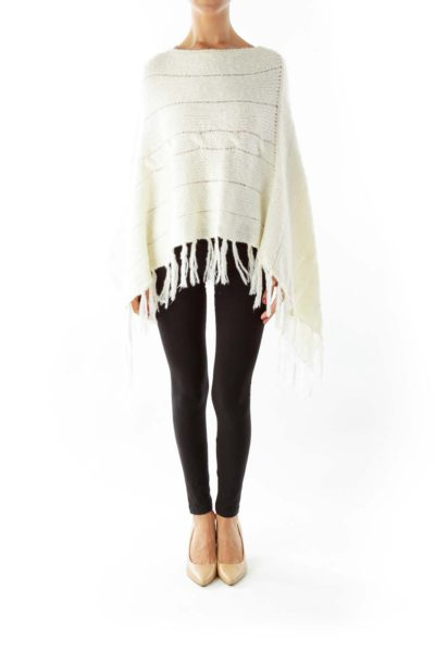 Cream Knit Poncho