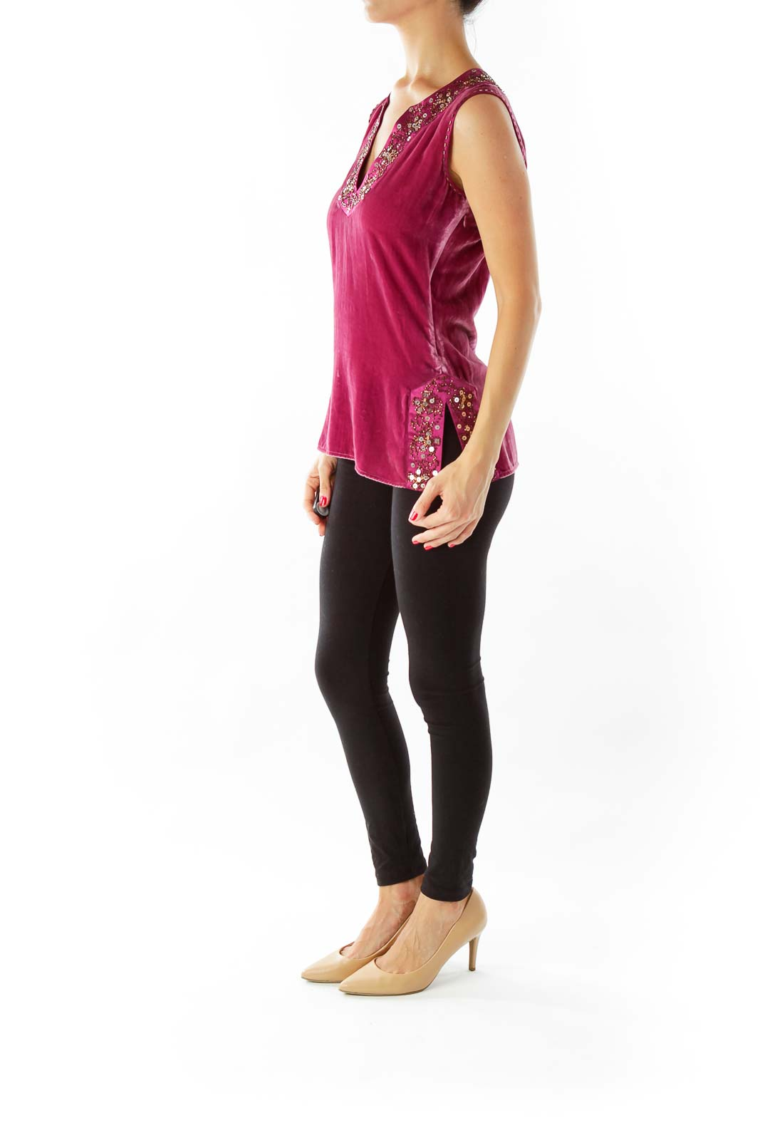 Purple Velvet Sleeveless Top