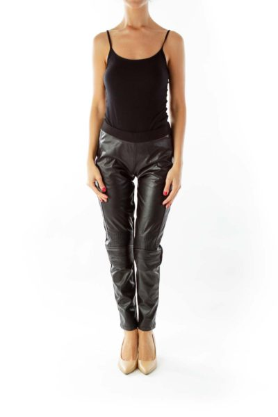 Black Faux-Leather Stretch Pants