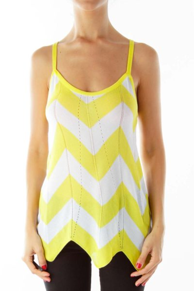 Yellow White Chevron Tank Top