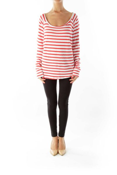 Red White Striped Loose Sweatshirt