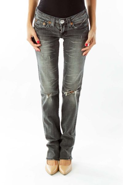 Black Distressed Straight Leg Jeans