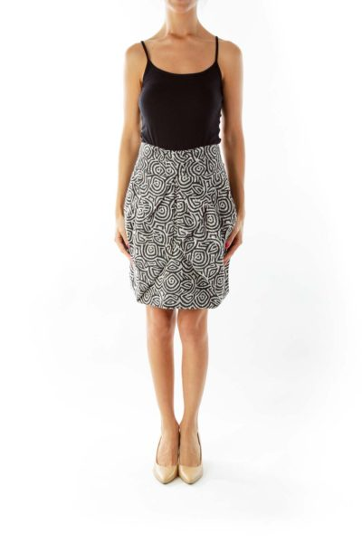 Black White Woven Skirt