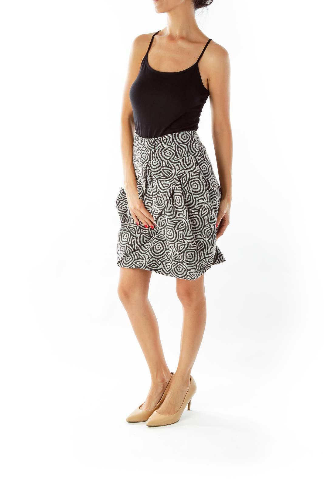 Black White Woven Skirt
