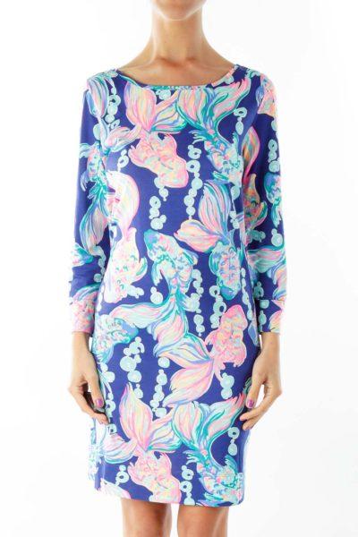 Blue Pink Floral Shift Dress