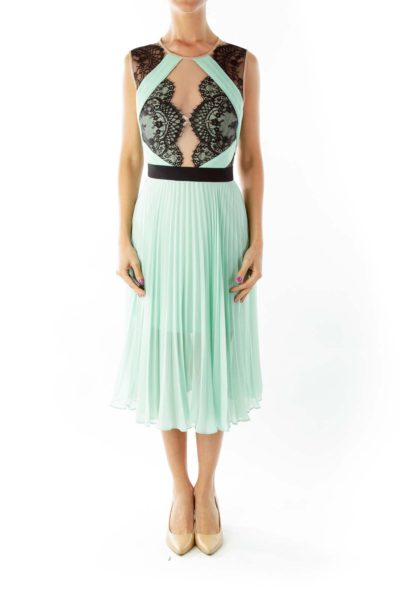 Green Black Lace Cocktail Dress