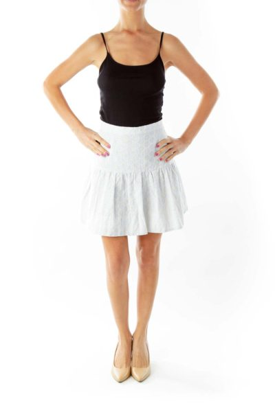 Blue Cream Embroidered Pinstripe Mini Skirt