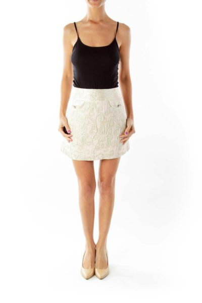 Pink Gold Paisley Metallic Mini Skirt