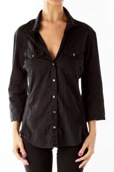 Black Buttoned Short Sleeve Shirt