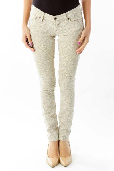 Brown Paisley Skinny Jeans