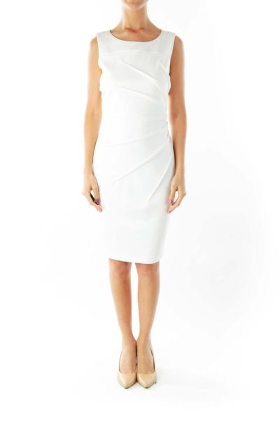 Cream Side Scrunch Work Dress