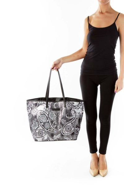 Black White Paisley Sequin Tote