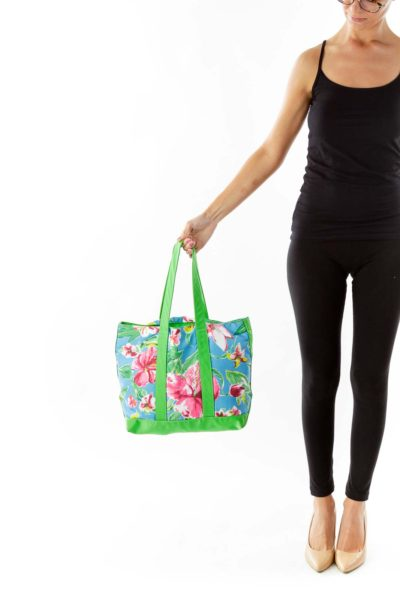Green Floral Tote