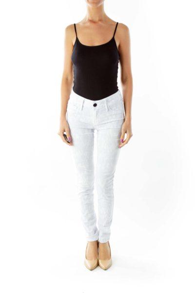 Gray Cream Print Skinny Jeans