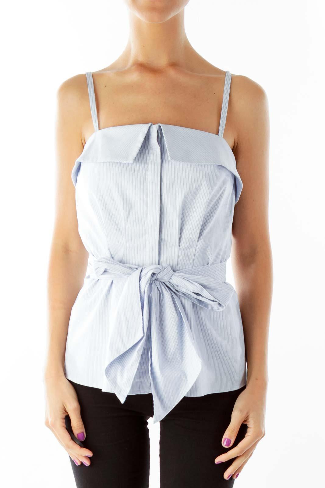 Blue Cream Pinstripe Corset Top