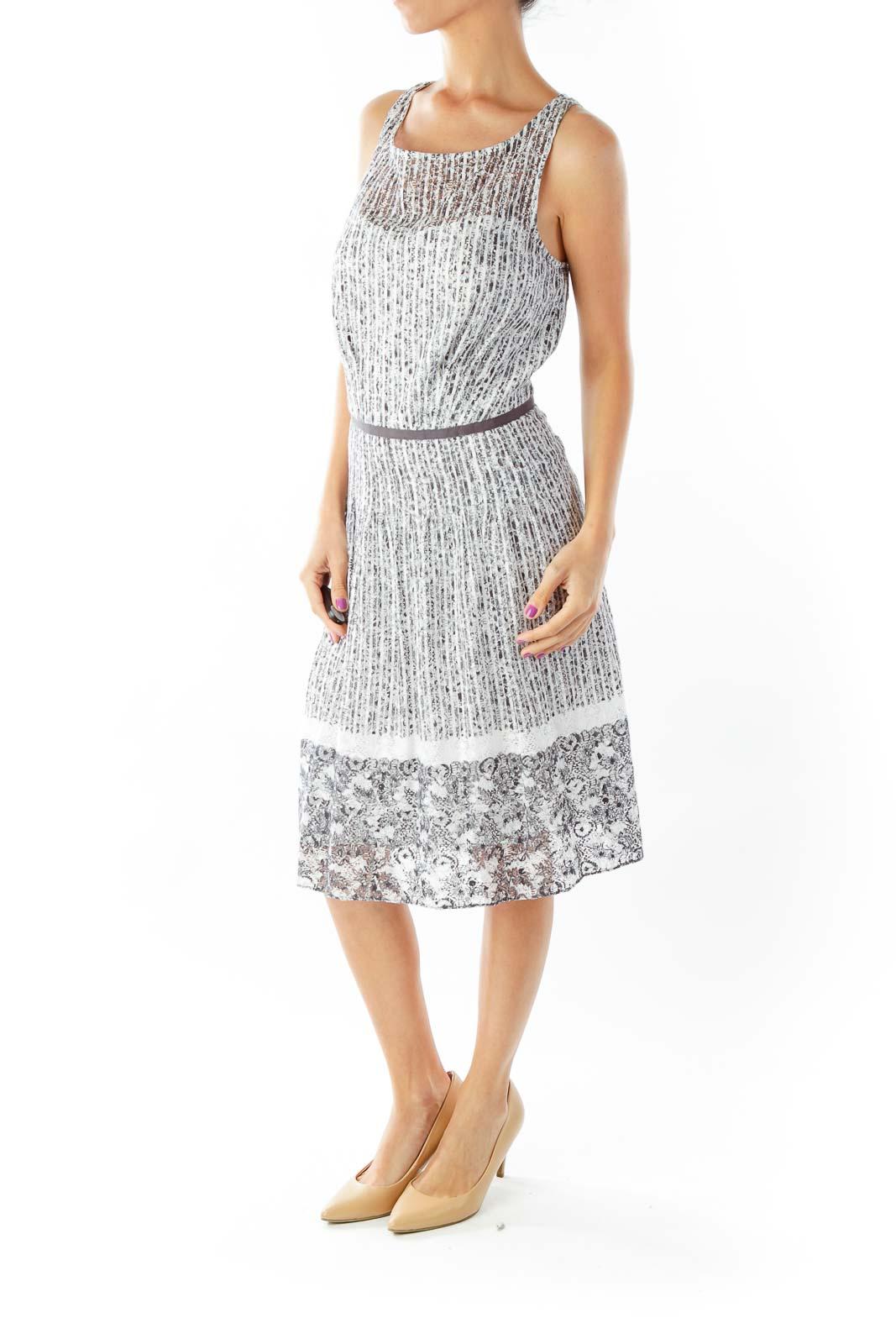 Black White Crocheted Flared Day Dress