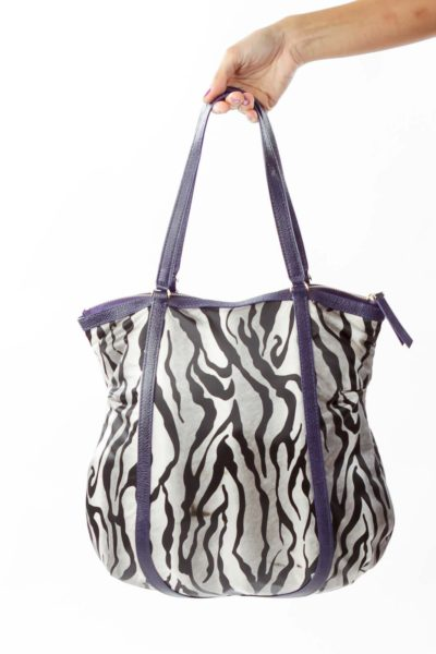 Purple Black Zebra Print Tote