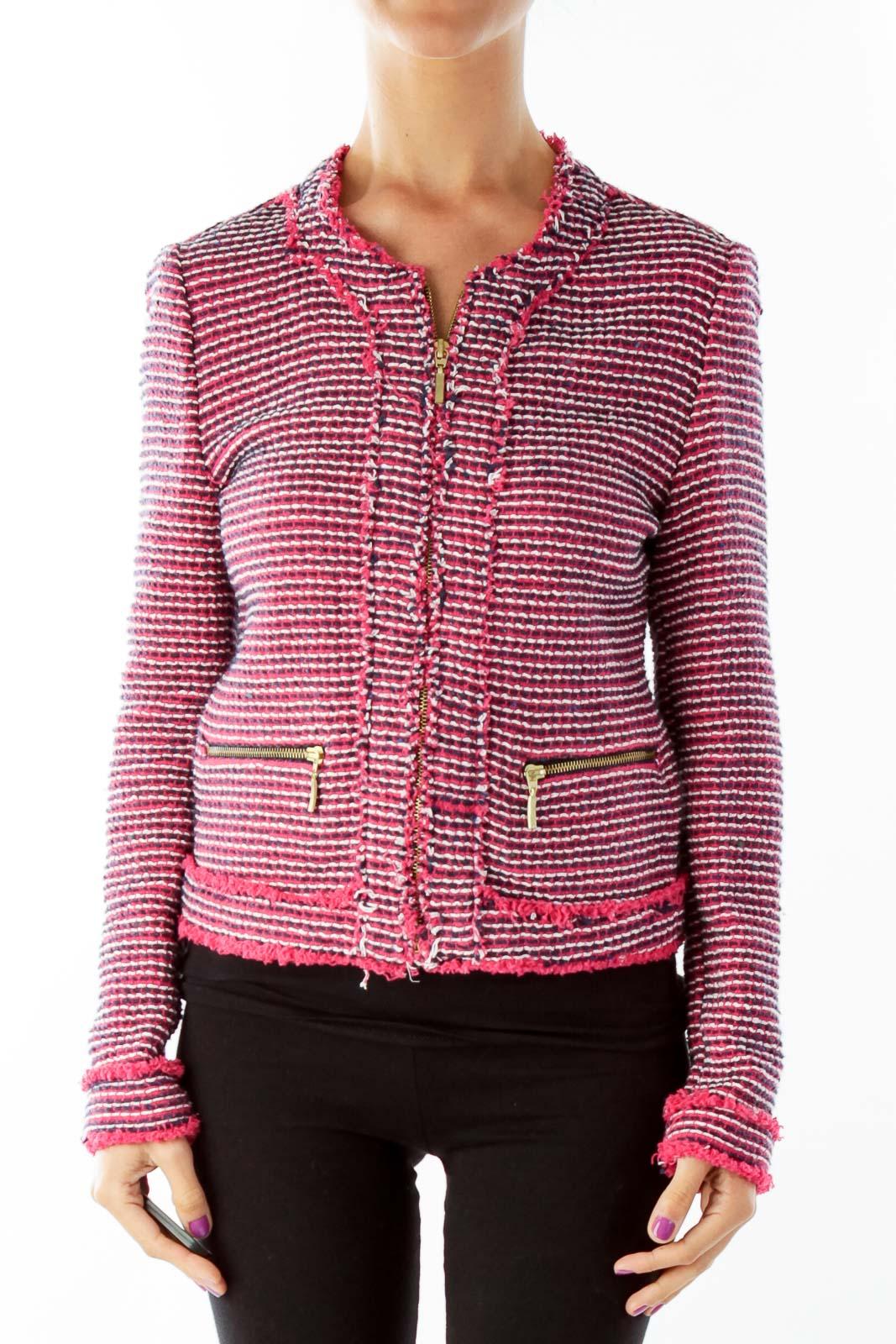 Pink Black Tweed Blazer