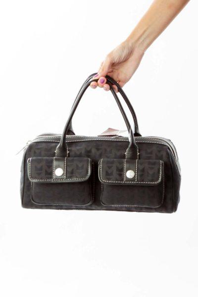 Black Jacquard Woven Vintage Satchel