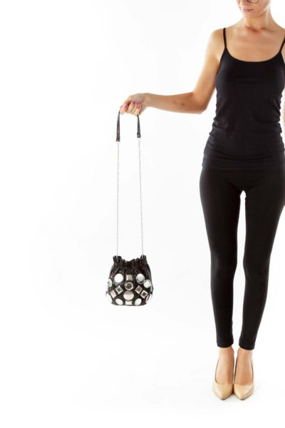 Black Rhinestonned Cross Body Bag