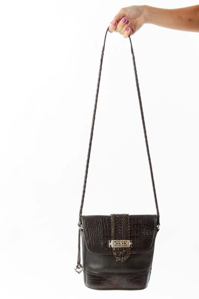 Brown Snake Skin Cross Body Bag
