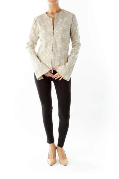 Beige Paisley Embroidered Jacket