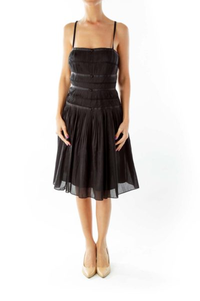 Black Pleated Cocktail Dress