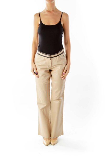 Beige Leather Flared Pants