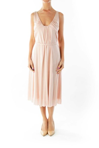 Pink Belted Tent Dress