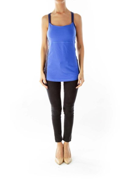 Blue Black Racerback Yoga Top