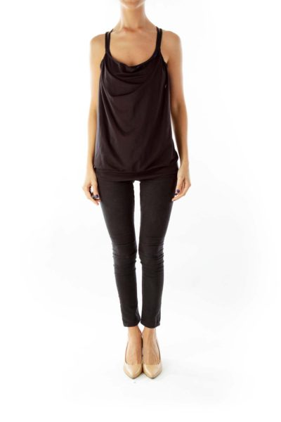 Black Racerback Yoga Top with Bralet