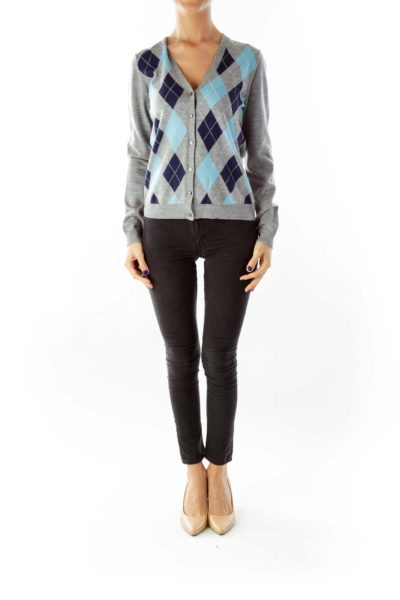Gray Argyle Cardigan