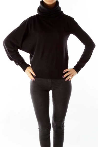 Black Virgin Wool Turtle Neck