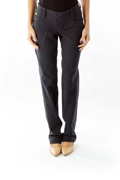 Black Straight leg Sport Pants