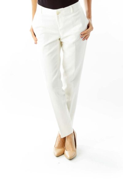 White Aztec Embroidered Pants