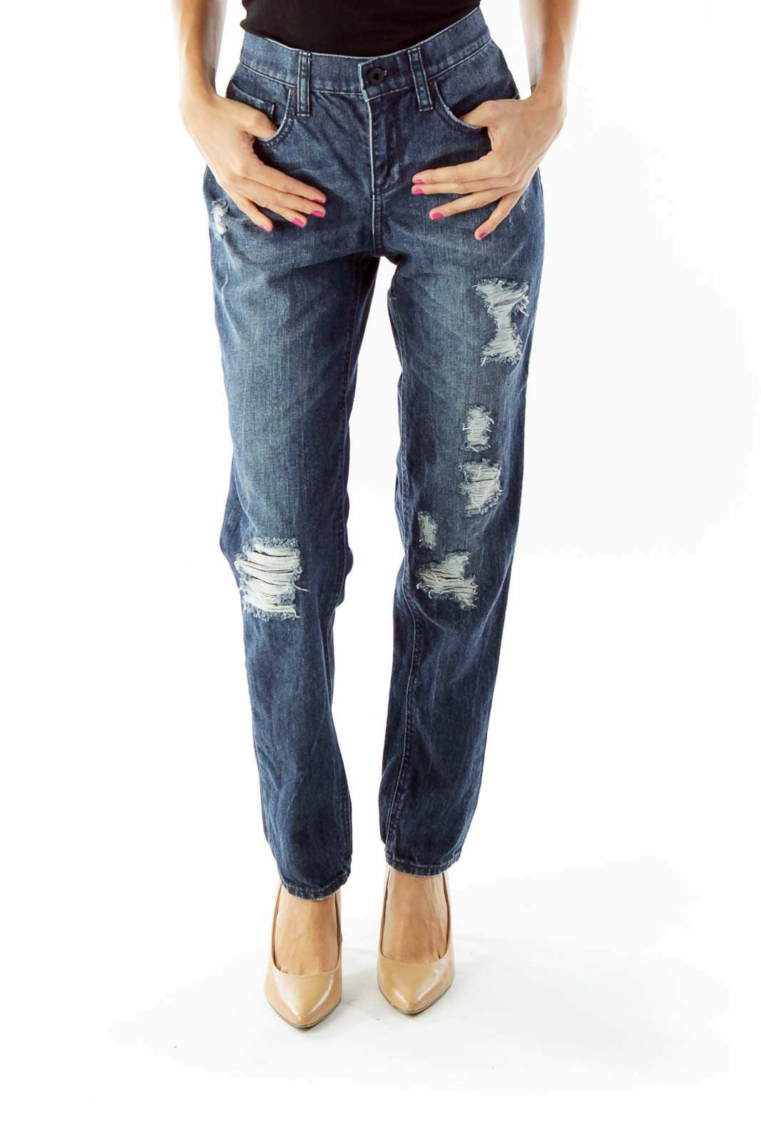 Navy Ripped Skinny Denim