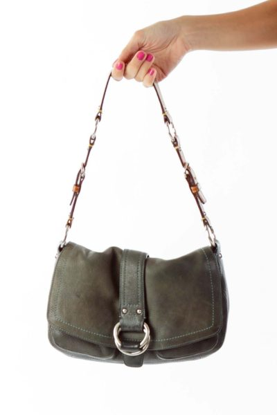 Dark Green Buckle Detail Shoulder Bag