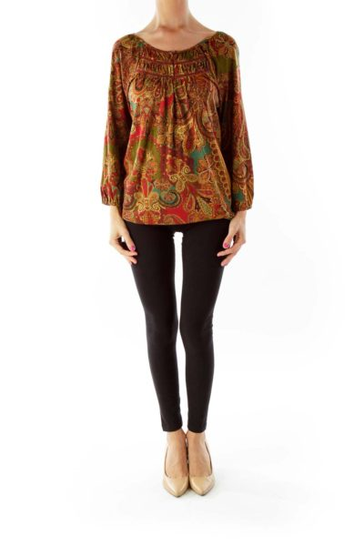 Red Green Paisley Print Blouse