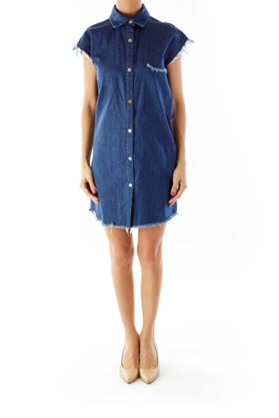 Blue Denim Sleeveless Dress