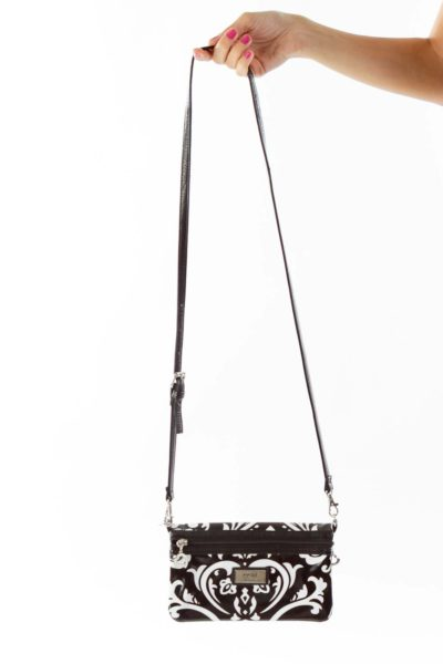 Black White Paisley Crossbody Bag