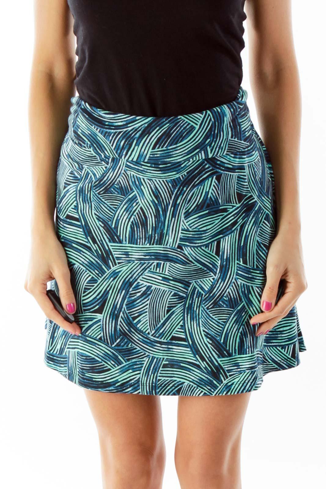Blue Green Printed Jersey Dress