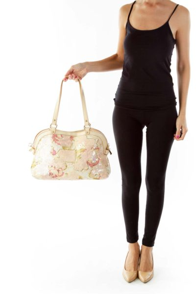 Pink Gold Sequined Shoulder Bag