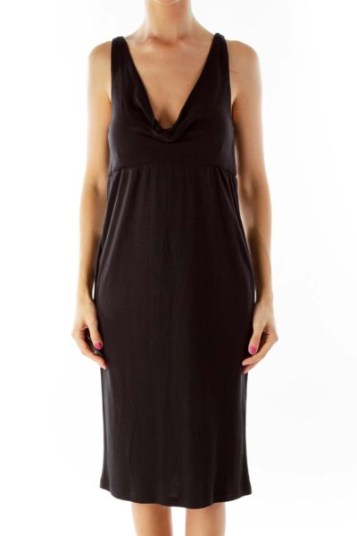Black V-Neck Cocktail Dress