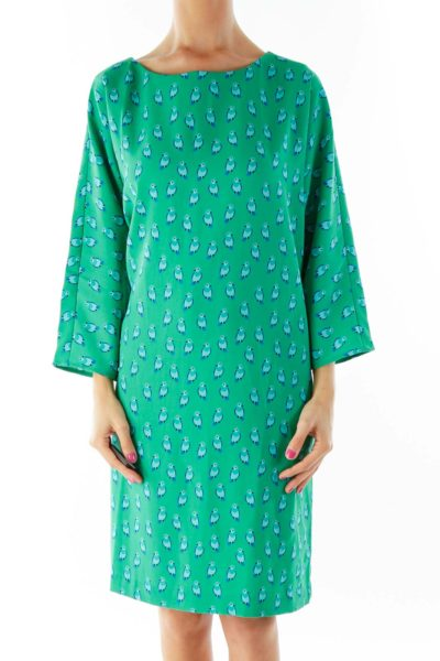 Green Blue Penguin Print Shift Dress