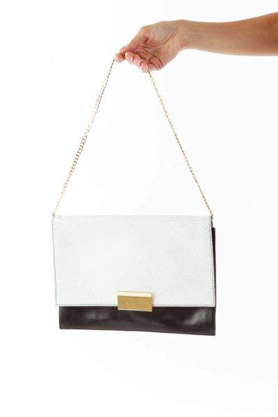 Black White Color Block Clutch