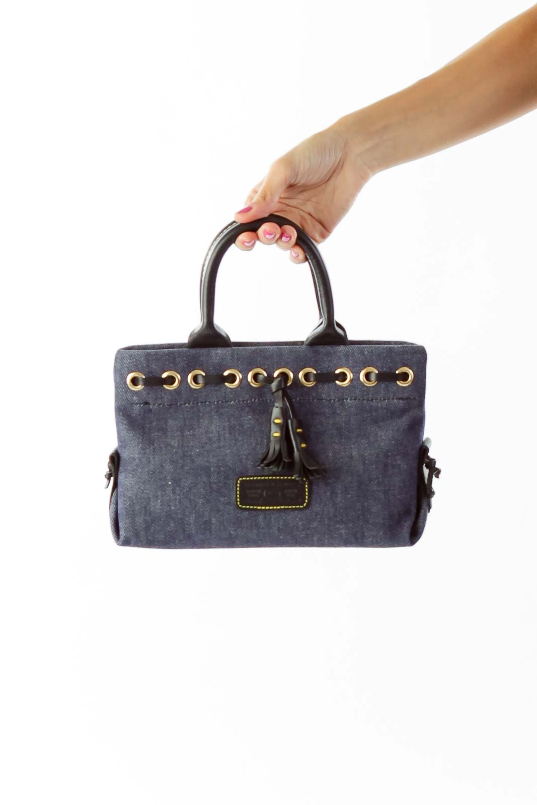 Blue Leather Denim Satchel