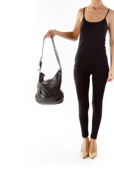 Black Studded Leather Shoulder Bag