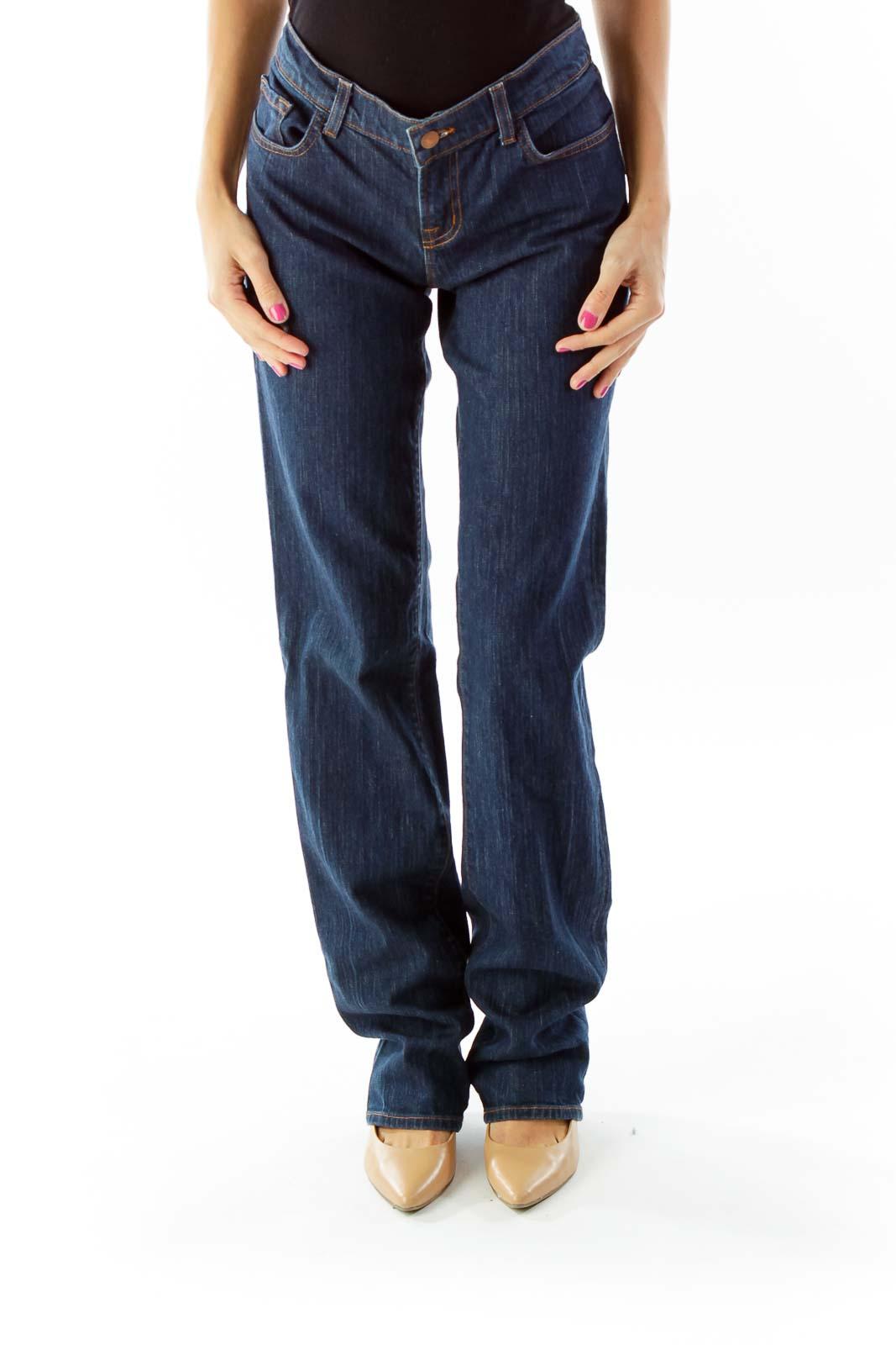 Blue Straight Leg Jeans