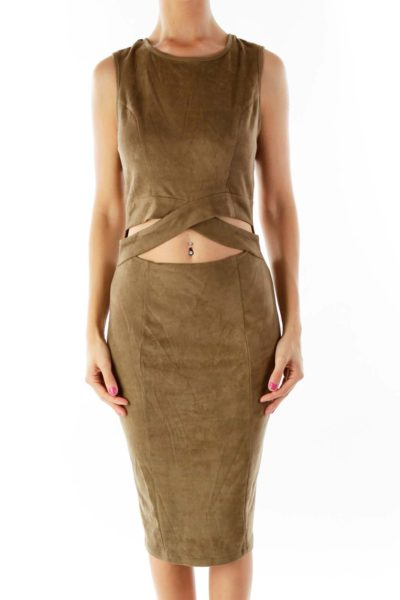 Olive Green Suede Cocktail Dress