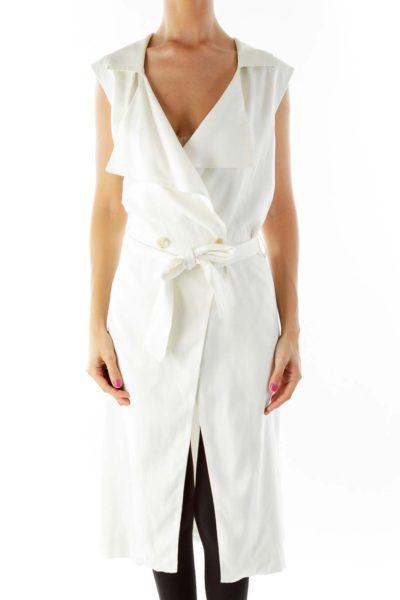 White Sleeveless Buttoned Vest